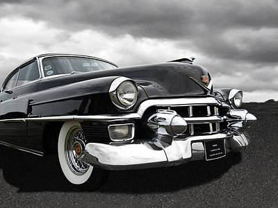 1953 Cadillac Coupe De Ville Black And White Print by Gill Billington
