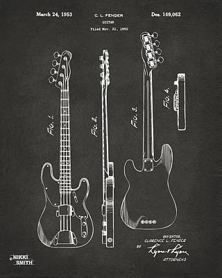 Apparatus Drawing - 1953 Fender Bass Guitar Patent Artwork - Gray by Nikki Marie Smith