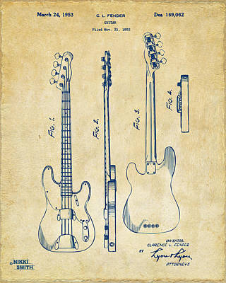 Caves Digital Art - 1953 Fender Bass Guitar Patent Artwork - Vintage by Nikki Marie Smith