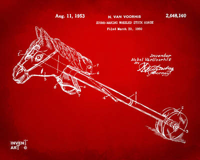 Blue And Red Drawing - 1953 Horse Toy Patent Artwork Red by Nikki Marie Smith