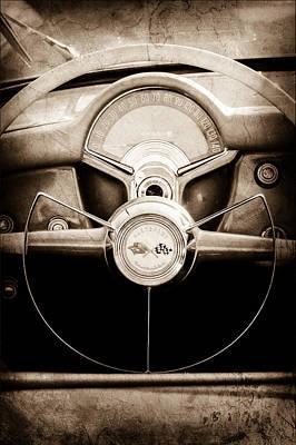1954 Chevrolet Corvette Steering Wheel Emblem Print by Jill Reger