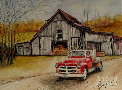 1954 Chevy Truck And Barn Original by Jackie Bryant