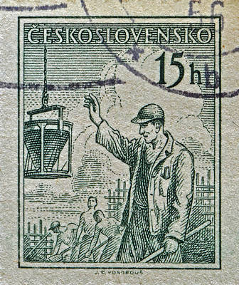 Macro Photograph - 1954 Czechoslovakian Construction Worker Stamp by Bill Owen