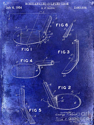 1954 Golf Patent Drawing Blue Print by Jon Neidert