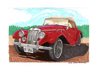Wheel Drawing - 1954 M G T F  by Jack Pumphrey