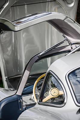 Mercedes Benz 300 Classic Car Photograph - 1954 Mercedes-benz 300sl Gullwing Steering Wheel -1653c by Jill Reger