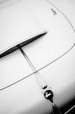 1954 Pegaso Z-102 Saoutchik Coupe Hood Emblem -0583bw Print by Jill Reger