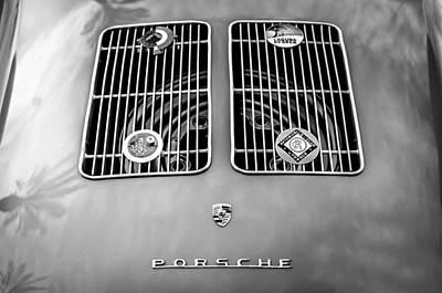 1954 Porsche Spyder Rear Emblem -0042bw Print by Jill Reger