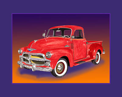Classic Truck Drawing - 1955 Chevrolet 3100 Pick Up Truck by Jack Pumphrey