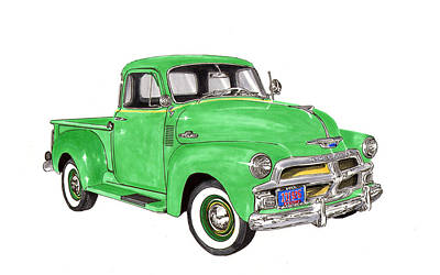 Classic Truck Drawing - 1955 Chevrolet 5 Window Pick Up by Jack Pumphrey