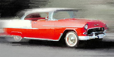 Chevy Painting - 1955 Chevrolet Bel Air Coupe Watercolor by Naxart Studio