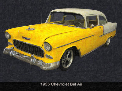 Poster From Digital Art - 1955 Chevy Bel Air Mixed Media by Chris Flees