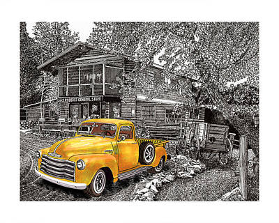 Selective Coloring Art Drawing - 1955 Chevy Pick Up Truck In Lake Robers N M  by Jack Pumphrey