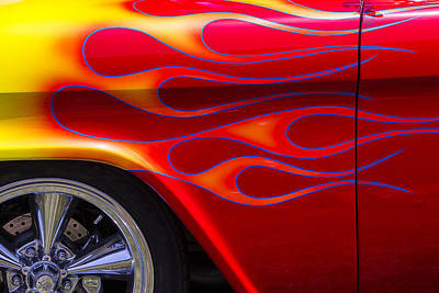 1955 Chevy Pickup With Flames Print by Garry Gay