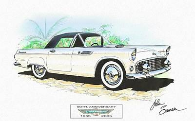 1955 Ford Thunderbird   White  Classic Car Art Sketch Rendering Print by John Samsen