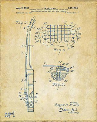 Acoustic Guitar Digital Art - 1955 Mccarty Gibson Les Paul Guitar Patent Artwork 2 Vintage by Nikki Marie Smith