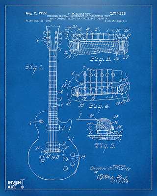 White Drawing - 1955 Mccarty Gibson Les Paul Guitar Patent Artwork Blueprint by Nikki Marie Smith