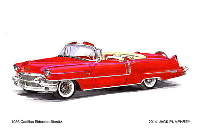 Louvre Drawing - 1956 Cadillac Series 62 Convertible by Jack Pumphrey