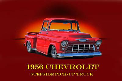 1956 Chevrolet Custom Pick Up Print by Dave Koontz