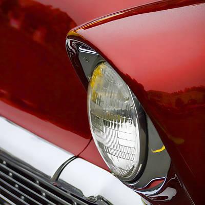 Headlight Photograph - 1956 Chevrolet Headlamp Square by Carol Leigh