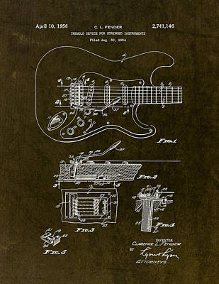 Stratocaster Drawing - 1956 Fender Tremolo Patent Drawing II by Gary Bodnar