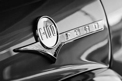 1956 Ford F-100 Pickup Truck Emblem Print by Jill Reger