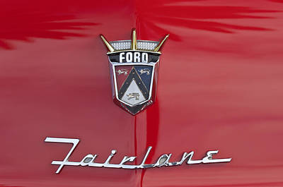 Ford Fairlane Photograph - 1956 Ford Fairlane Hood Emblem by Jill Reger