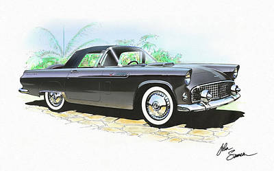 1956 Ford Thunderbird  Black  Classic Vintage Sports Car Art Sketch Rendering         Print by John Samsen