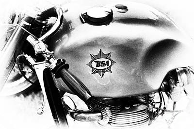 50s Photograph - 1957 Bsa Cafe Racer Monochrome  by Tim Gainey