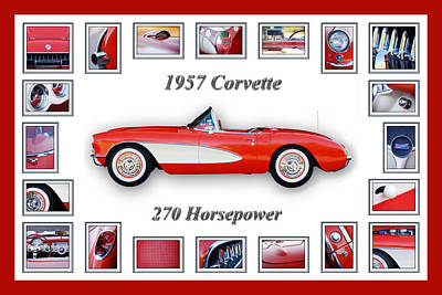 Montage Photograph - 1957 Chevrolet Corvette Art by Jill Reger