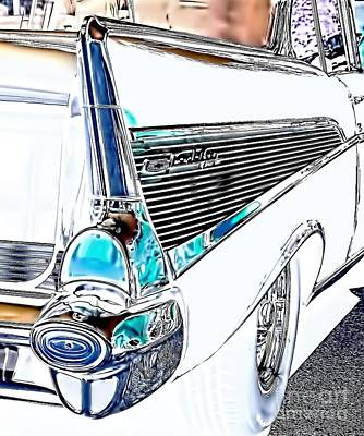 1957 Chevrolet Bel Air Art White Print by Lesa Fine