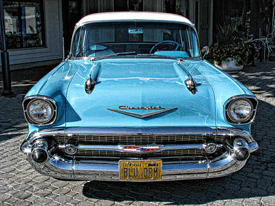 1957 Chevy Bel Air In Turquoise Print by Samuel Sheats