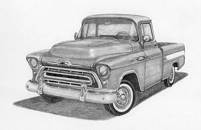 Classic Truck Drawing - 1957 Chevy Cameo Pickup Truck by Rita Palmer