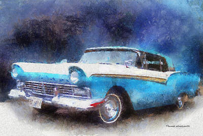 1957 Ford Classic Car Photo Art 02 Print by Thomas Woolworth