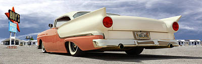 Motel Digital Art - 1957 Ford Fairlane Lowrider by Mike McGlothlen