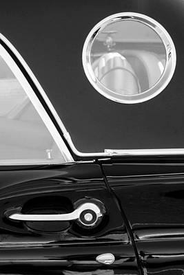 1957 Ford Thunderbird Window Black And White Print by Jill Reger