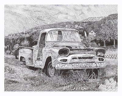 Classic Truck Drawing -  Ran When Parked by Jack Pumphrey