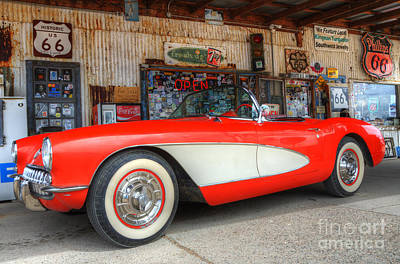 1957 Little Red Corvette Route 66 Print by Bob Christopher