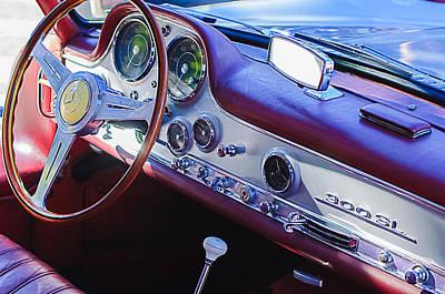 Mercedes Benz 300 Classic Car Photograph - 1957 Mercedes-benz 300 Sl Gullwing Steering Wheel Emblem by Jill Reger