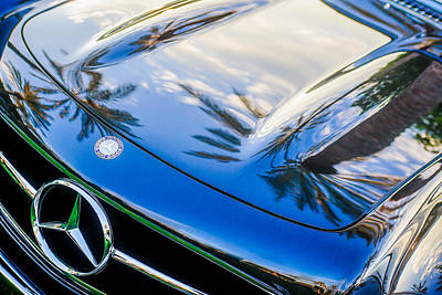 Mercedes Benz 300 Classic Car Photograph - 1957 Mercedes-benz 300sl Grille Emblem -0167c by Jill Reger