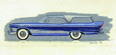 1957 Plymouth Cabana  Station Wagon Styling Design Concept Sketch Print by John Samsen