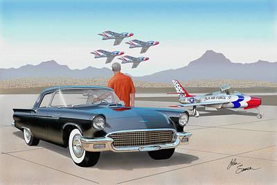 1957 Thunderbird  With F-84 Thunderbirds Vintage Ford Classic Car Art Sketch Rendering          Print by John Samsen