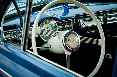 Volvo Photograph - 1957 Volvo Steering Wheel -1378c by Jill Reger