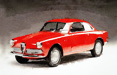 Old Mixed Media - 1958 Alfa Romeo Giulietta Sprint Watercolor by Naxart Studio
