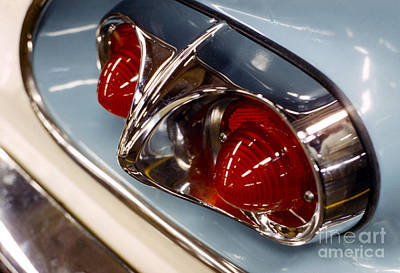 1958 Chevrolet Taillight In Baby Blue And Chrome Print by The Phillip Harrington Collection