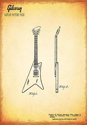 1958 Gibson Guitar Patent Print by Mark Rogan