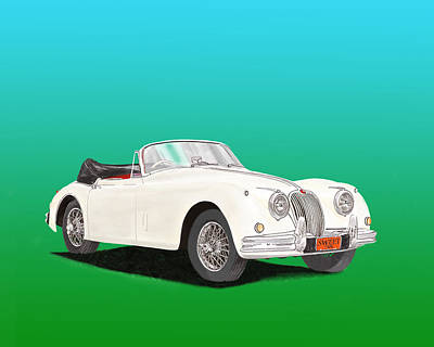 Revised Painting - 1958 Jaguar X K 150 S Cabriolet by Jack Pumphrey
