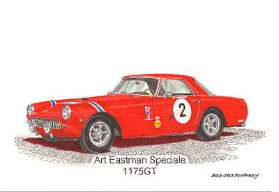 Street Rod Drawing - 1959 Ferrari 250 P F Coupe by Jack Pumphrey