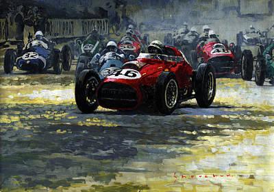 Art Paper Painting - 1959 Monaco Gp  #46 Ferrari D246 Jean Behra by Yuriy Shevchuk