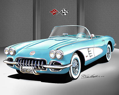 Muscle Car Drawings Painting - 1960 Chevrolet Corvette by Danny Whitfield